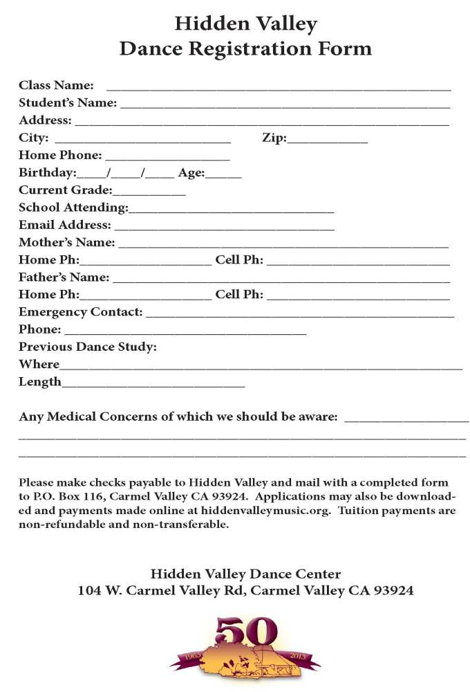 Dance registration form hidden valley music seminars an for Dance school registration form template free