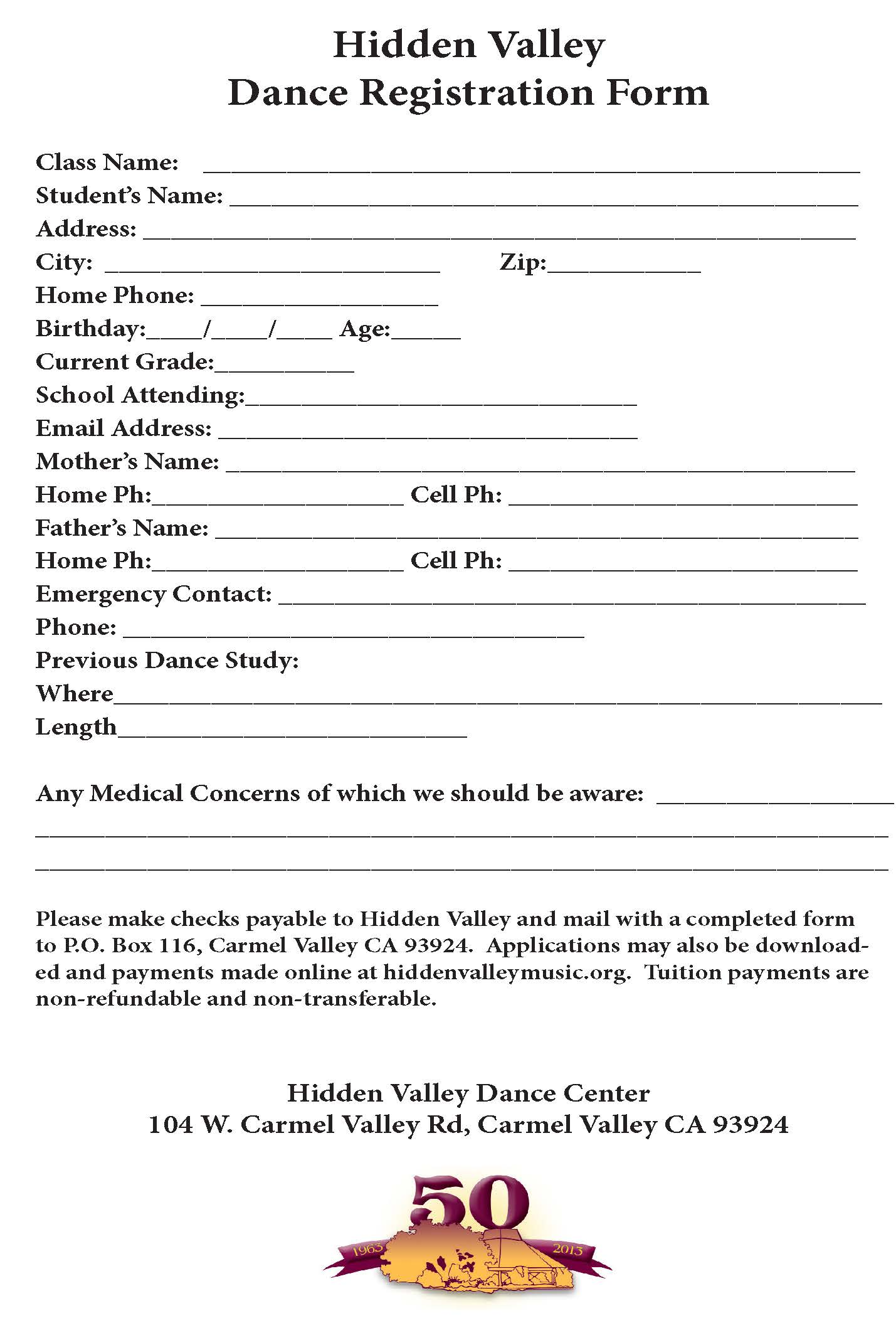 Dance Registration Form (Hidden Valley Music Seminars, An Institute Of The  Arts)